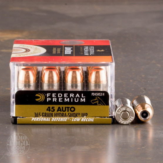 20rds - 45 ACP Federal Hydra-Shok PD Low Recoil 165gr. HP Ammo
