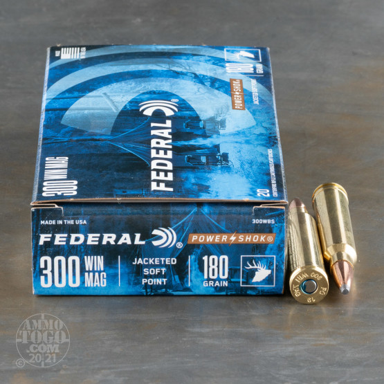 20rds - 300 Win. Mag Federal Power-Shok 180gr. Soft Point Ammo