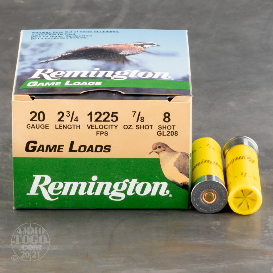 "25rds - 20 Gauge Remington Game Load 2 3/4"" 7/8oz. #8 Shot Ammo"