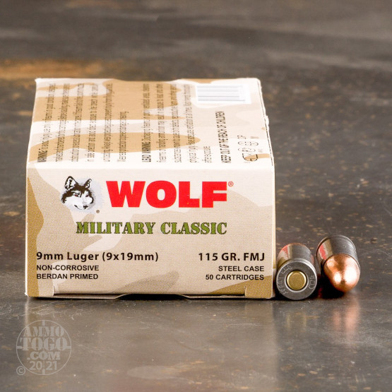 50rds - 9mm WPA Military Classic 115gr. FMJ Ammo