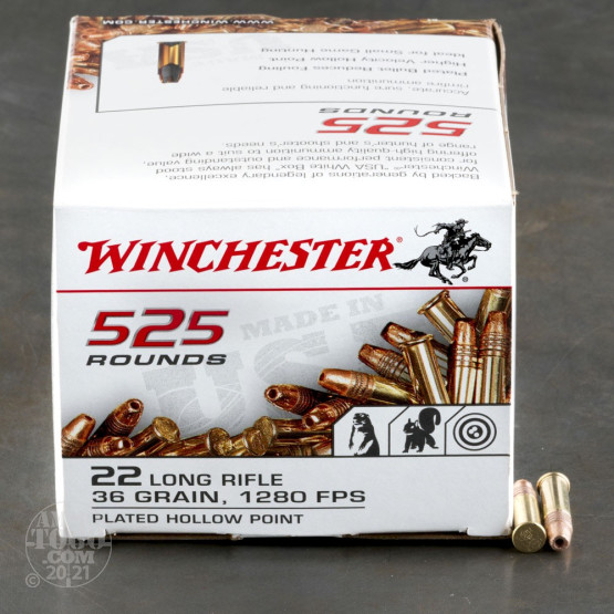 525rds - 22LR Winchester 36gr. Copper Plated Hollow Point Bulk