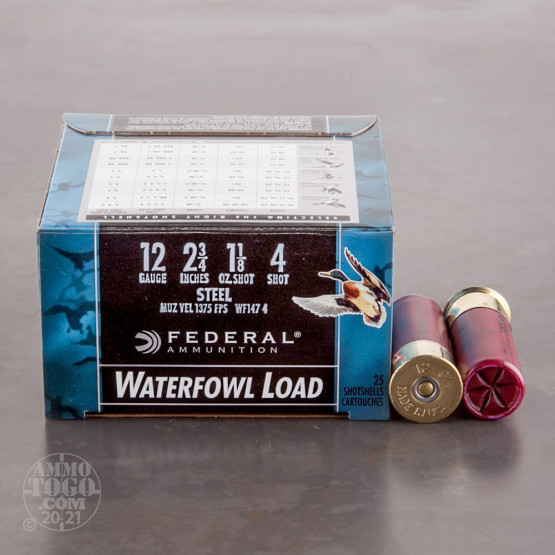 "25rds - 12 Ga. Federal Speed-Shok 2 3/4"" 1 1/8oz. #4 Steel Shot Ammo"