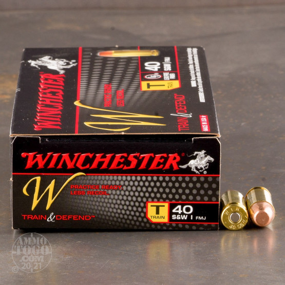50rds - 40 S&W Winchester W Train and Defend 180gr. FMJ Ammo