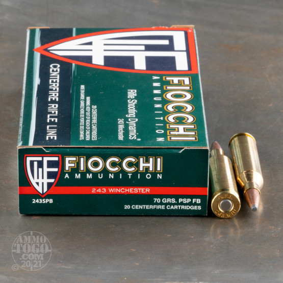 20rds – 243 Win Fiocchi 70gr. PSP Ammo