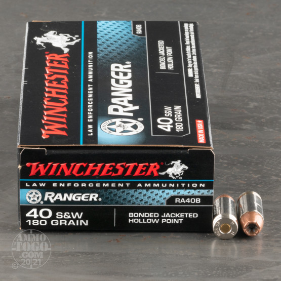 500rds – 40 S&W Winchester Ranger Bonded 180gr. JHP Ammo
