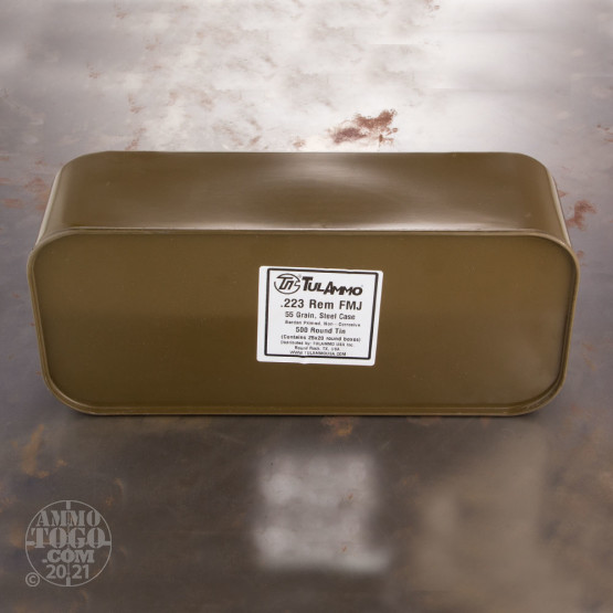 500rds - 223 Tula 55gr. FMJ Ammo In Sealed Spam Can