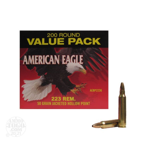 200rds - .223 Federal American Eagle 50gr. Jacketed Hollow Point Ammo
