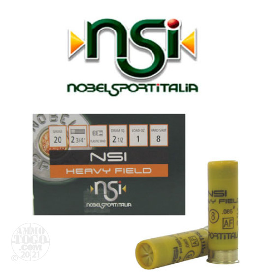 "25rds - 20 Gauge NSI Heavy Field 2 3/4"" 2 1/2 Dram 1oz. #8 Shot Ammo"