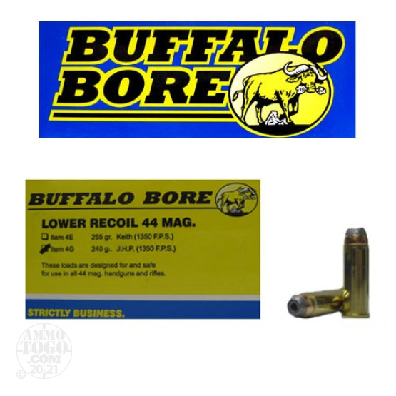 20rds – 44 Magnum Buffalo Bore Lower Recoil 240gr. JHP Ammo