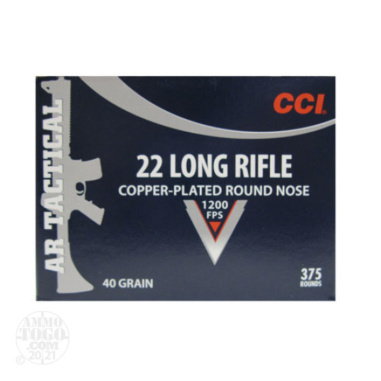 375rds - 22LR CCI AR Tactical 40gr. Copper-Plated Round Nose Ammo
