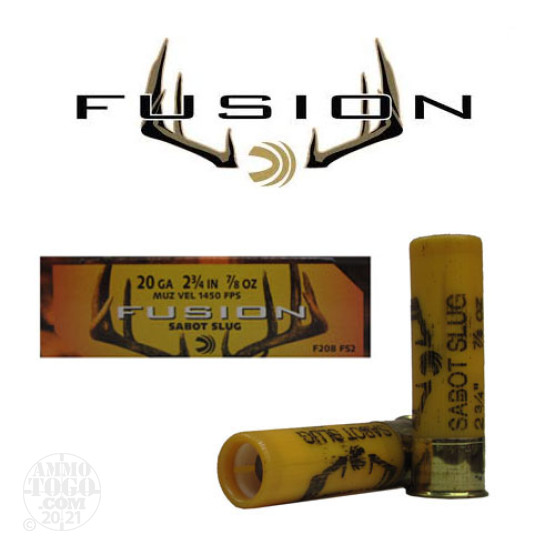 "5rds - 20 Gauge Federal Fusion 2 3/4"" 7/8oz. Sabot Slug"