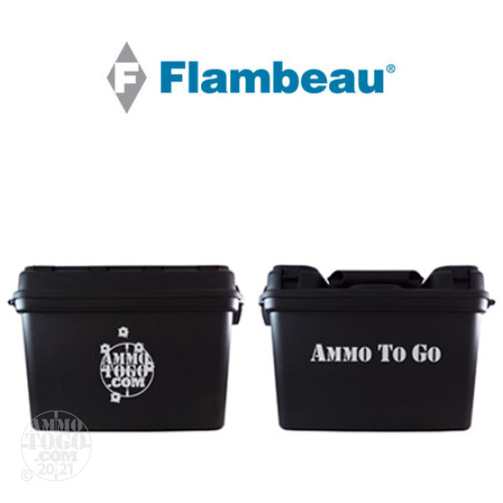 "4 - Flambeau Inc. 14"" Zerust Black Plastic Ammo Can/Dry Boxes w/ Ammo to Go Logo"