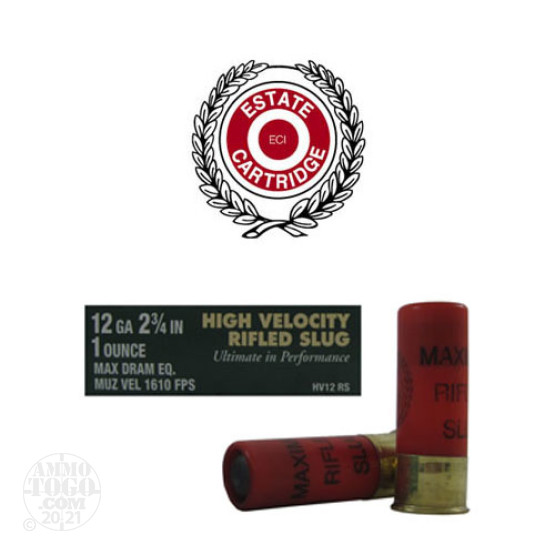 "5rds - 12 Gauge Estate High Velocity 2 3/4"" Max Dram 1oz. Rifled Slug Ammo"