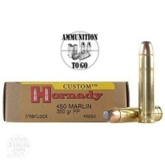 20rds - 450 Marlin Hornady 350gr. Jacketed Soft Flat Point Ammo