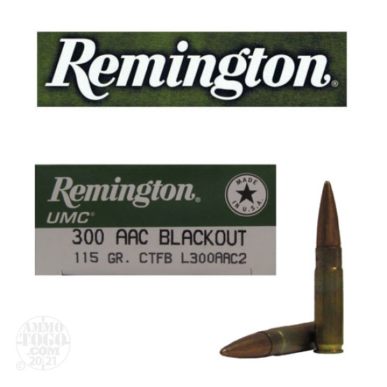 200rds - .300 AAC BLACKOUT Remington UMC 115gr. CTFB Ammo