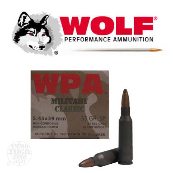 750rds - 5.45x39 WPA Military Classic 55gr. SP Ammo