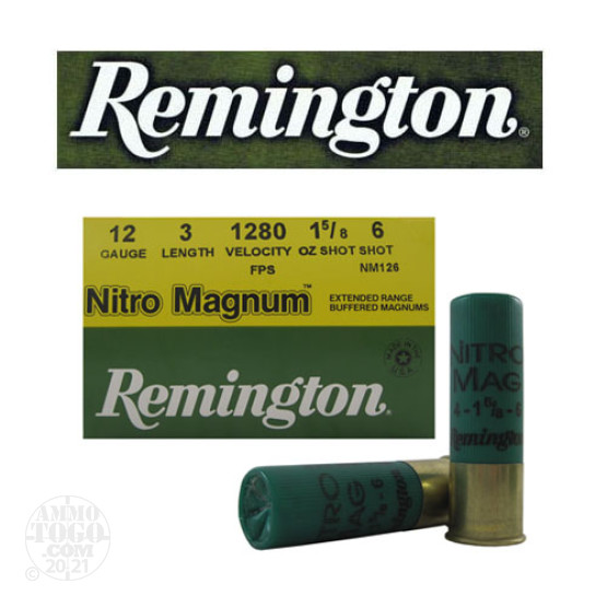 "25rds - 12 Gauge Remington Nitro Magnum 3"" 1 5/8oz. #6 Shot Ammo"