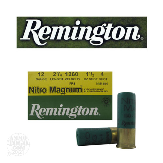 "25rds - 12 Gauge Remington Nitro Magnum 2 3/4"" 1 1/2oz. #4 Shot Ammo"