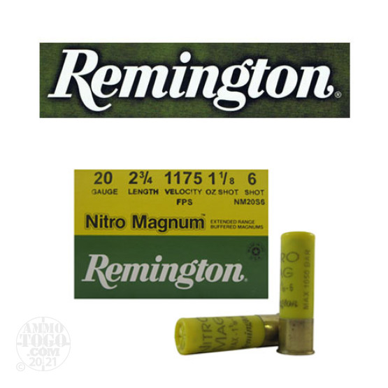 "25rds - 20 Gauge Remington Nitro Magnum 2 3/4"" 1 1/8oz. #6 Shot Ammo"