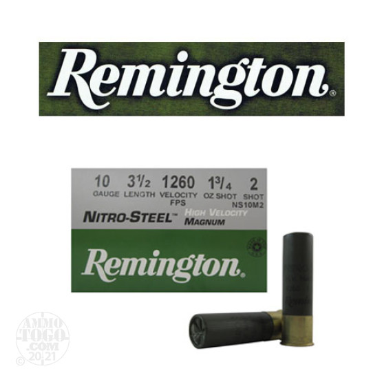 "25rds - 10 Gauge Remington Nitro-Steel HV 3 1/2"" 1 3/4oz. #2 Shot Ammo"
