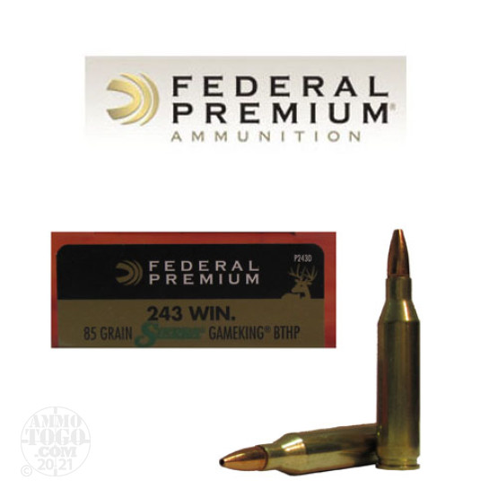 20rds – 243 Win Federal Vital-Shok 85gr. GameKing BTHP Ammo
