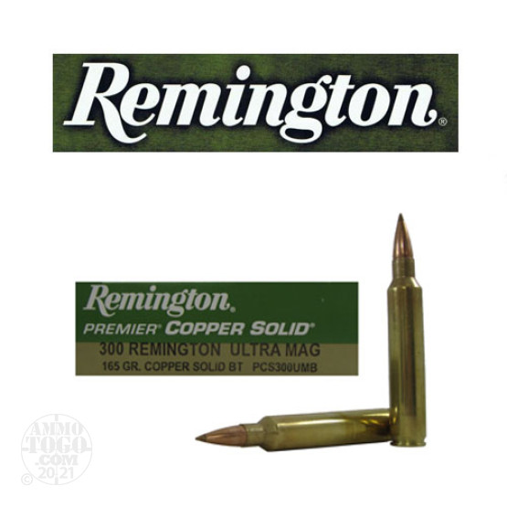 20rds - 300 RUM Remington Premier 165gr. Copper Solid BT Polymer Tip Power Level 3 Ammo