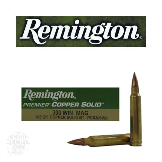 20rds - 300 Win Mag Remington Premier 165gr. Copper Solid BT Polymer Tip Ammo