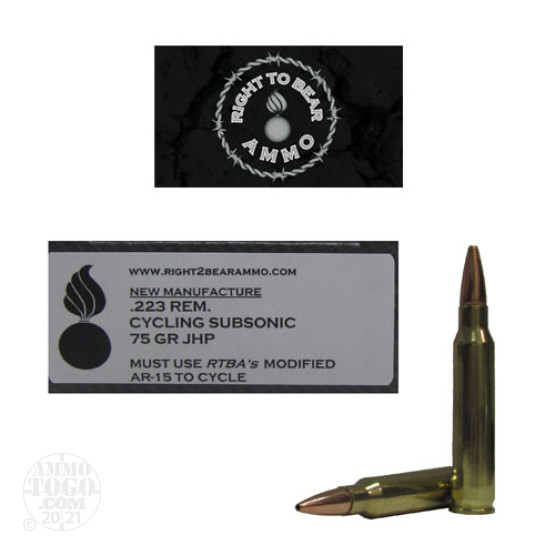 20rds - 223 Right To Bear Cycling Subsonic 75gr. JHP Ammo (for use in CS R2BA upper ONLY)