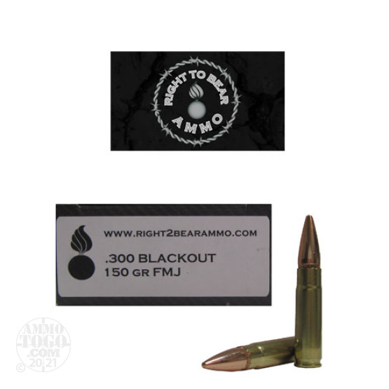 20rds - 300 AAC BLACKOUT Right To Bear 150gr. FMJ Ammo