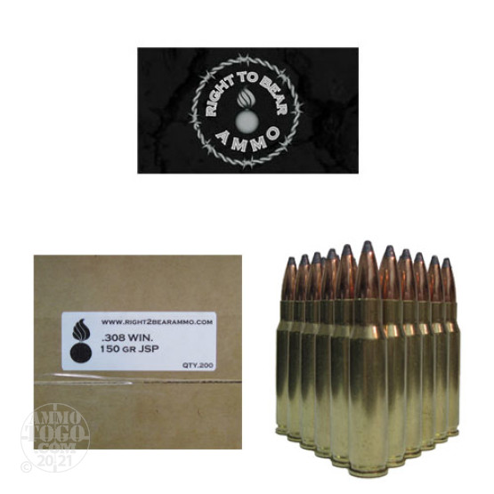 200rds - 308 Win. Right To Bear 150gr. JSP Ammo