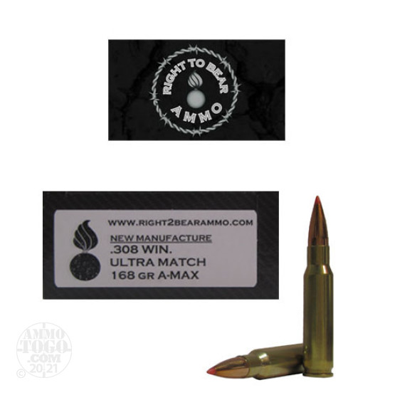 20rds - 308 Win. Right To Bear Ultra Match 168gr. A-MAX Ammo