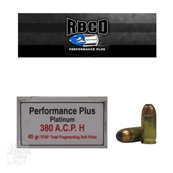 20rds - 380 Auto RBCD Performance Plus 45gr. Total Fragmenting Soft Point Ammo