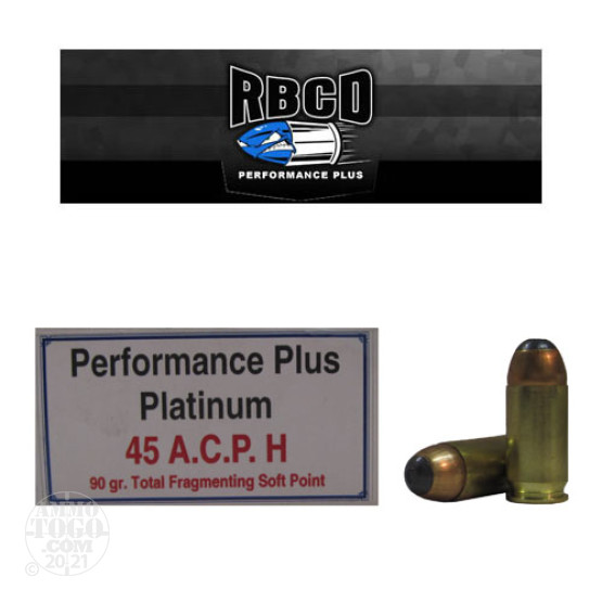 20rds - 45 ACP RBCD Performance Plus 90gr. Total Fragmenting Soft Point Ammo