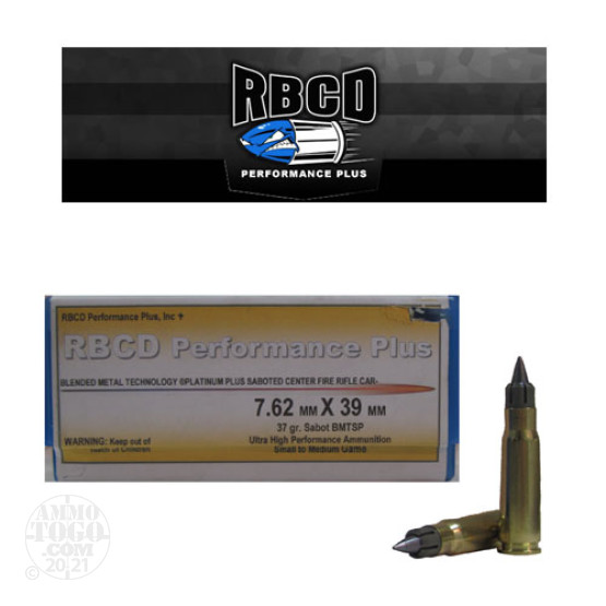 20rds - 7.62x39mm RBCD Performance Plus 37gr Sabot BMTSP Ammo