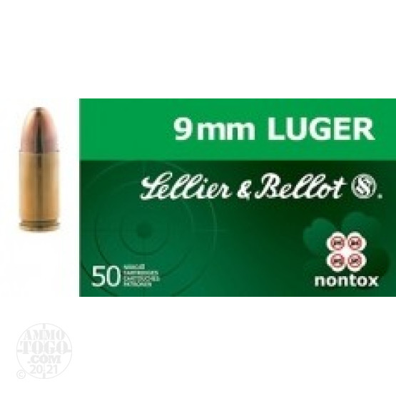 50rds - 9mm Sellier & Bellot 115gr TFMJ Nontox Ammo