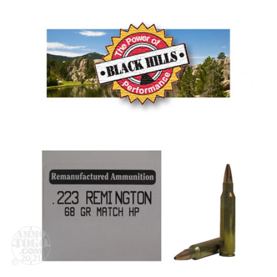 50rds - 223 Black Hills 68gr. Remanufactured Seconds Heavy Match HP Ammo