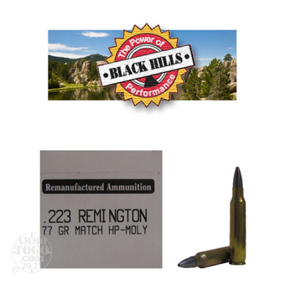 50rds - 223 Black Hills 77gr. Remanufactured Seconds Sierra MatchKing HP Moly Ammo