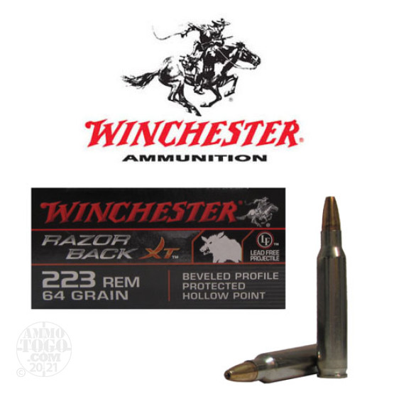 20rds - 223 Winchester Razorback XT 64gr. Beveled Profile Protected HP Ammo