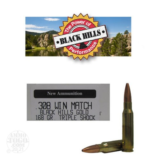 20rds - 308 Win. Match Black Hills Gold 168gr. New Seconds TSX Ammo