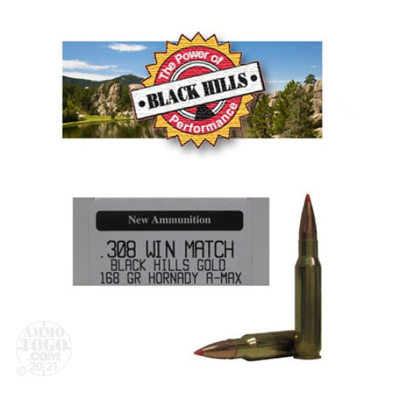 100rds - 308 Win Black Hills Gold 168gr. New Seconds A-Max Polymer Tip Ammo