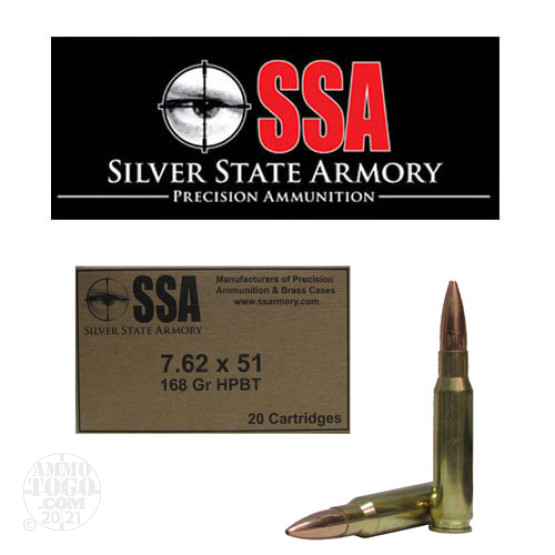20rds - 7.62 x 51mm Silver State Armory 168gr. Sierra HPBT Military / LE Ammo
