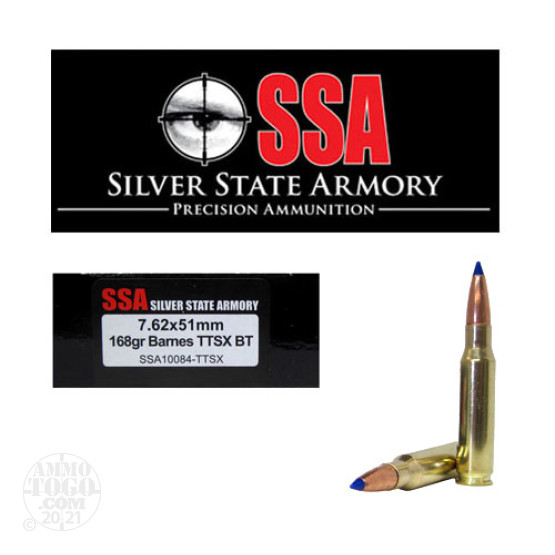 20rds - 7.62 x 51mm Silver State Armory 168gr. Barnes TTSX Lead Free Ammo