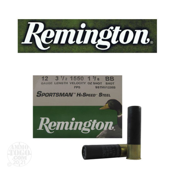"250rds - 12 Gauge Remington Sportsman Hi-Speed Steel 3 1/2"" 1 3/8oz. #BB Shot Ammo"