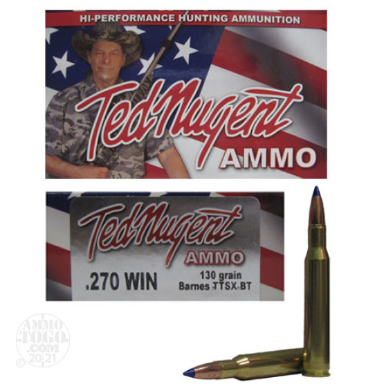 20rds - 270 Win. Ted Nugent 130gr. Polymer Tip TTSX Boattail Ammo