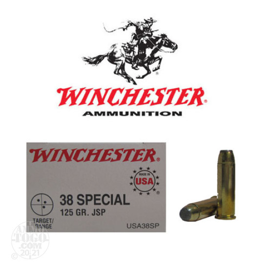 50rds - 38 Spec. Winchester 125gr. Jacketed Soft Point Ammo