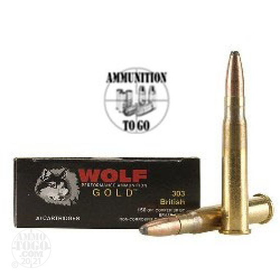 20rds - 303 British Wolf Gold 150gr Soft Point Ammo