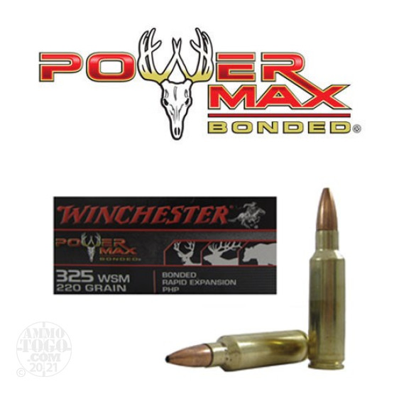 20rds - .325 WSM Winchester Bonded Powermax 220gr. PHP Ammo