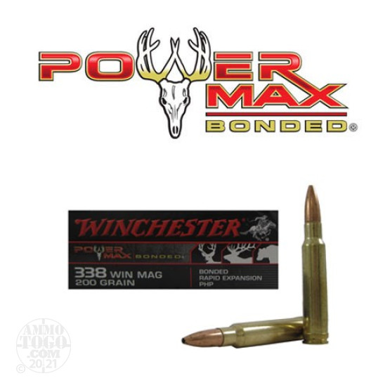 20rds - 338 Win Mag Winchester Bonded Powermax 200gr. PHP Ammo