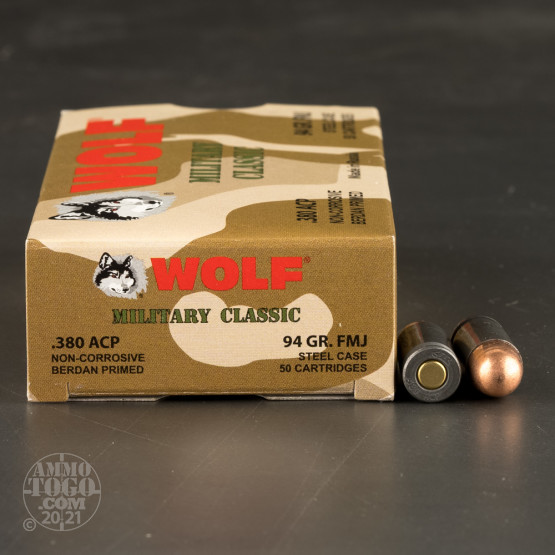 50rds - 380 Auto Wolf Military Classic 94gr. FMJ Ammo