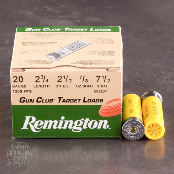"25rds - 20 Gauge Remington Gun Club 2 3/4"" 7/8oz. #7 1/2 Shot Ammo"